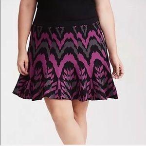 New Torrid Black, Grey, Magenta Sweater Skirt